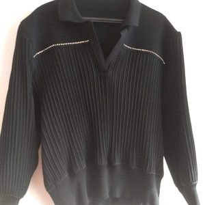 vintage black long sleeve pleated polo pullover